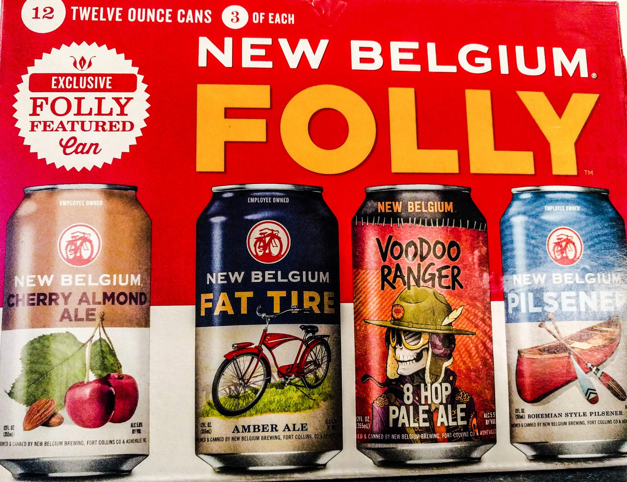 A case of New Belgium Variety pack.