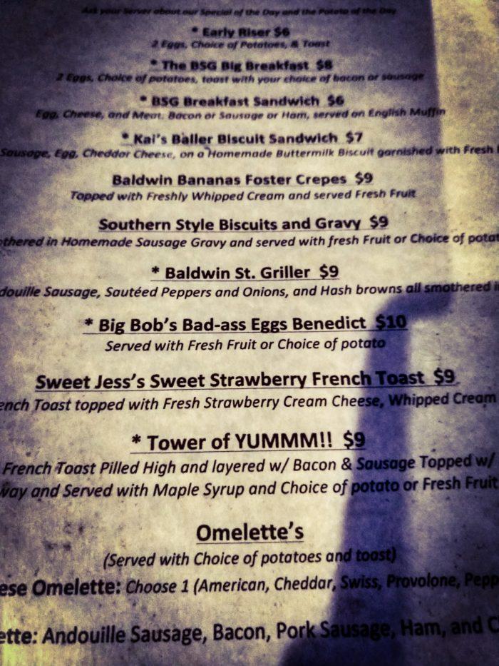 Baldwin Street Grille Menu
