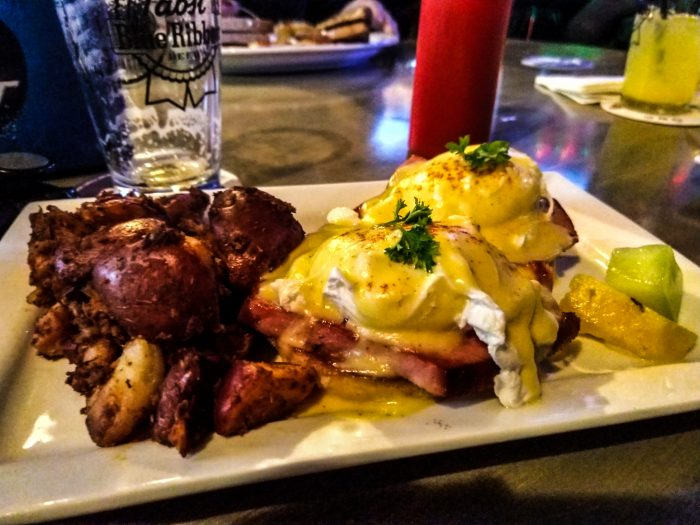 Eggs Benedict for brunch at a bar