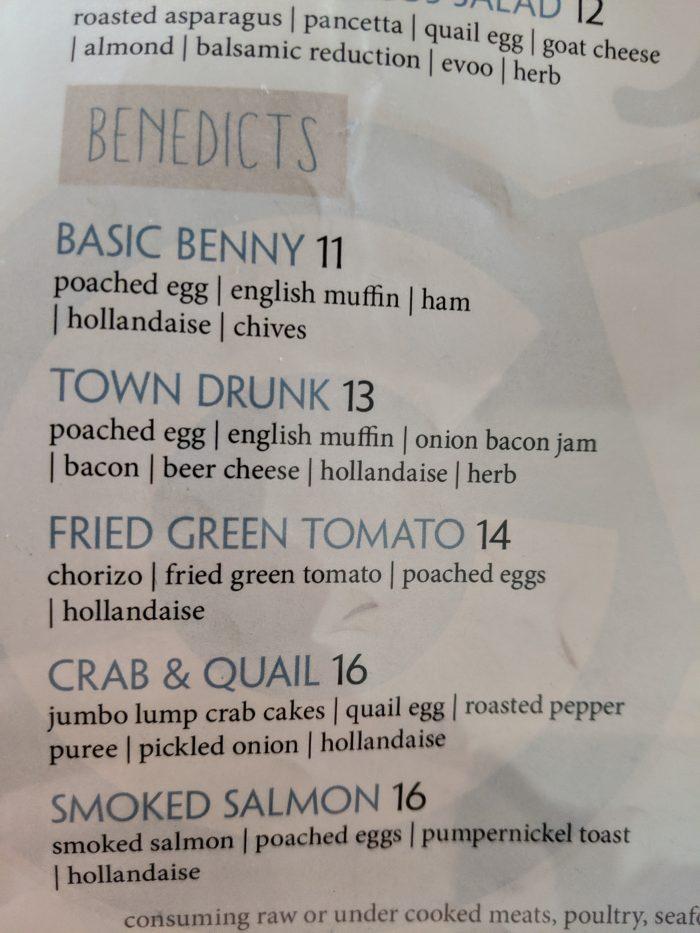 Eggs Benny menu